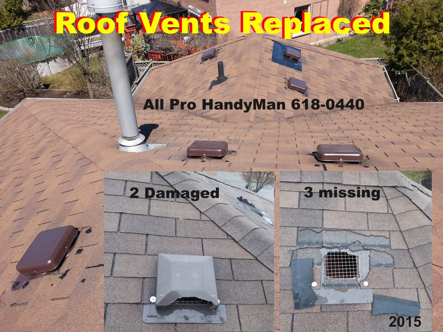 7 Roof Vents replaced